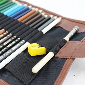 Image 3 - طقم أقلام رصاص ملونة من الخشب 48/72 لونًا طقم أقلام رسم حقيبة أقلام رصاص حقائب لوحة فنية للمدرسة