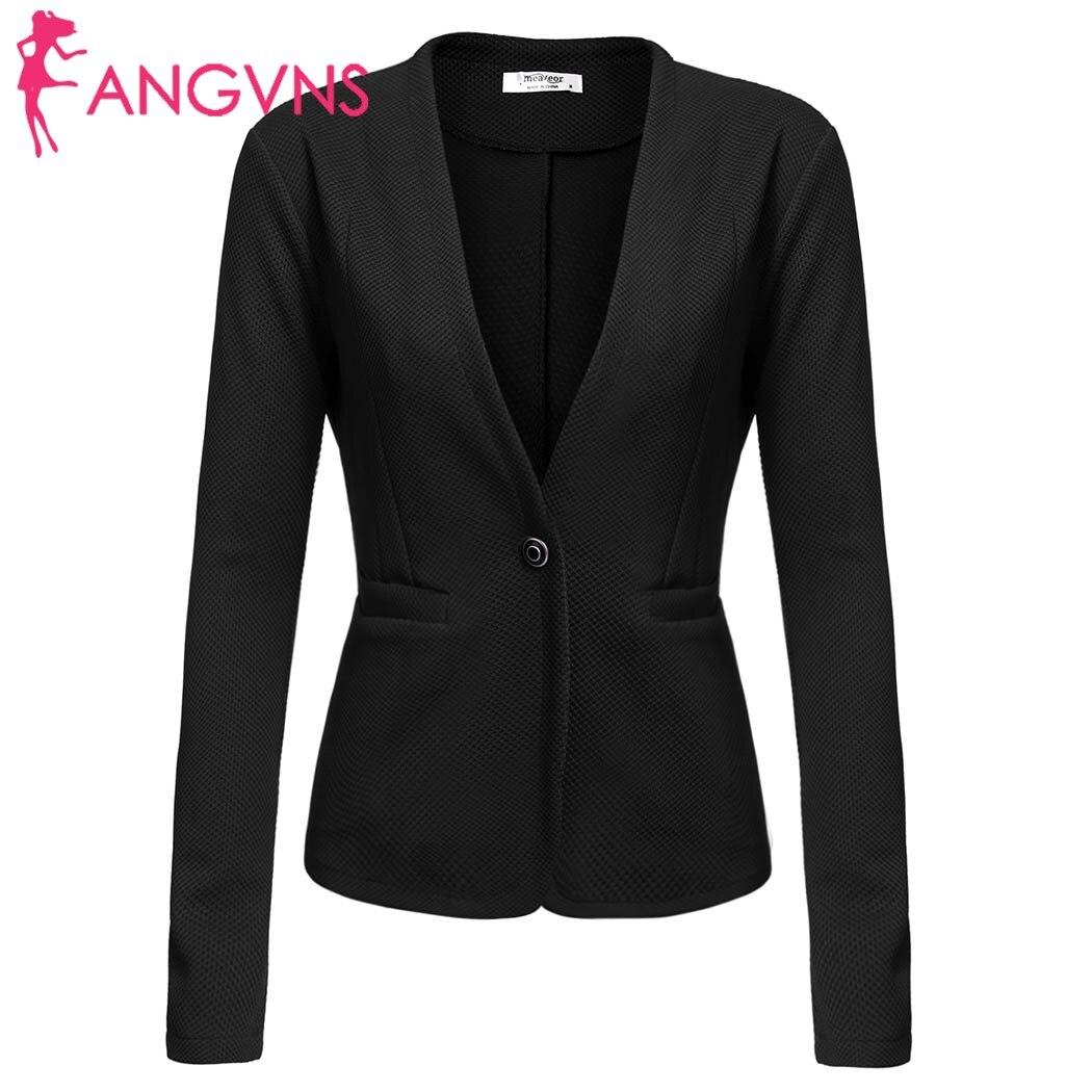 ANGVNS Womens Long Sleeve Casual Work Office Slim Single Button Blazer summer spring 2018 Blazer un seul bouton SlimBlazer