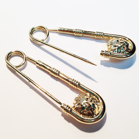Gold 5pcs/lot 56*16mm Lions Head Large Alloy Safety Pin--Big and Strong Enough to Hold Heavy-Material Garment accessories