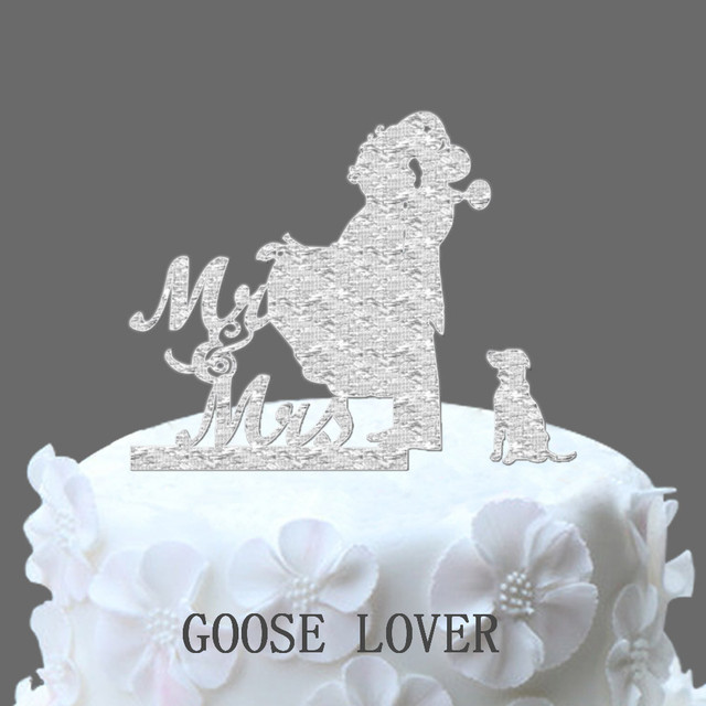 Wedding Cake Topper Silhouette, Wedding Cake Decoration, Mr And Mrs Cake Topper With Dog, Funny Unique Wedding Cake Idea