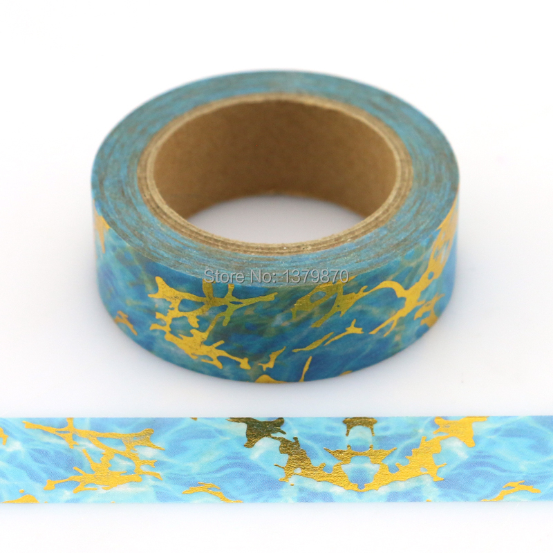 NEW 15mm*10M Blue Foil Washi Tape Starlight Lightning- High Quality Paper Adhesive Tape Golden Sticky Paper Tape  Masking Tape
