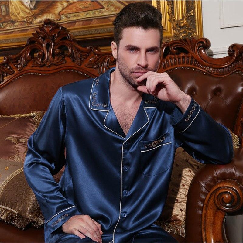 100% Pure Silk Pajamas Men Sleepwear 2018 NEW Embroidery Real Silk Pyjama Sets Two Piece Tops + Pants Long Sleeve Nightwear 5075