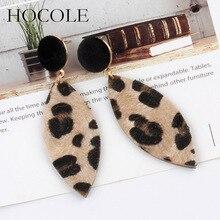 HOCOLE Korean Vintage Leopard Printed Earrings Water-drop Velvet Long Drop Dangle For Women Statement Jewelry Brincos