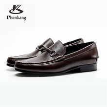 Men Genuine leather brogue Business Wedding banquet shoes mens casual flats vintage handmade oxford for men black