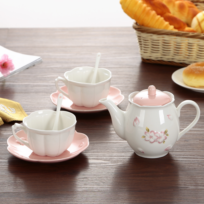 Emboss Cherry Flower Teapot Cup Saucer Sets Afternoon Tea Ceramic Coffee Cup Set China Ceramic Tea Set Wedding Gifts Drinkware