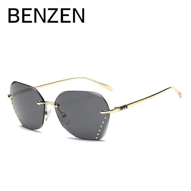 BENZEN Brand Designer Sunglasses Women Luxury Rimless Female Sun Glasses  Ladies Shades Driving Glasses Black With Case 6269