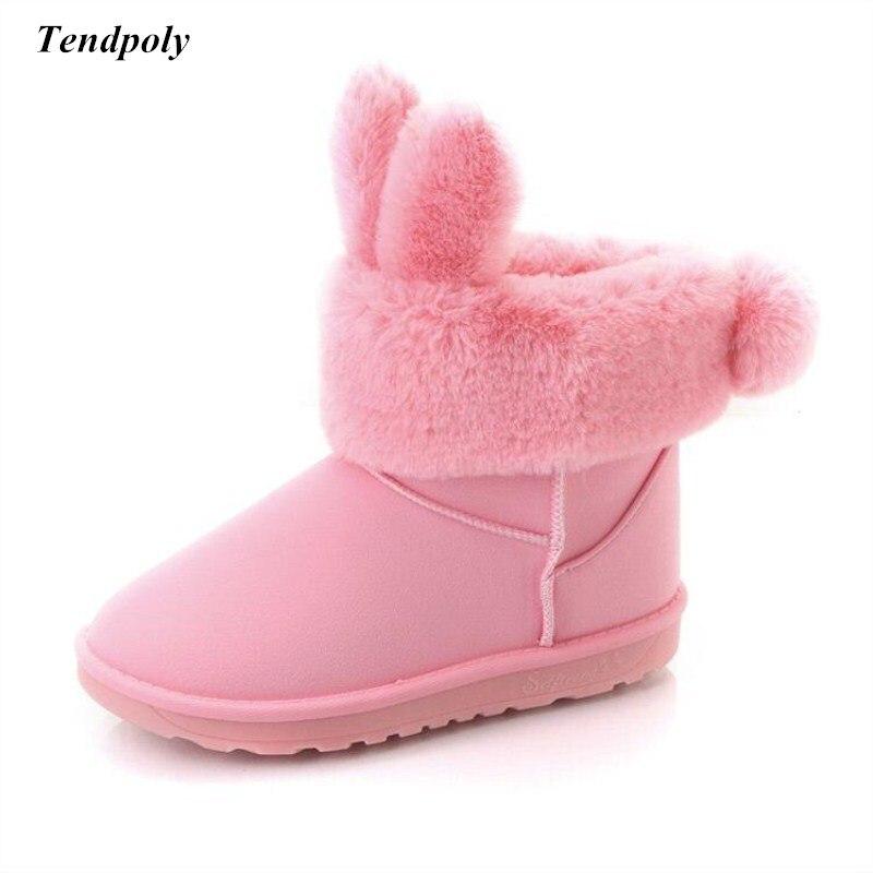 Новые зимние Лидер продаж модные ботинки размер (36-40) твердых Теплый Хлопок Шерсть заячьи ушки зимние сапоги