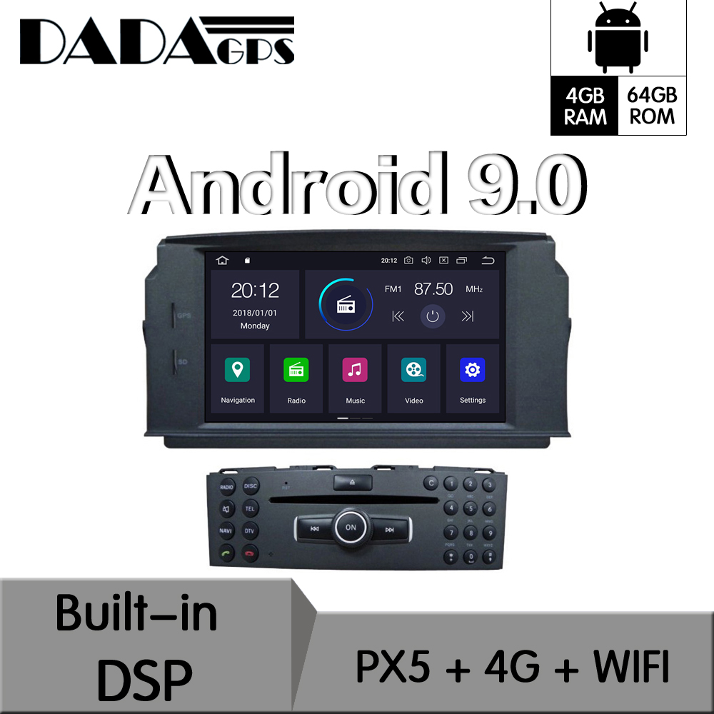 Android 9.0 4+64GB Built-in DSP Car DVD Player multimedia Radio For MERCEDES BENZ C Class <font><b>C200</b></font> C180 C220 W204 GPS Navigation image