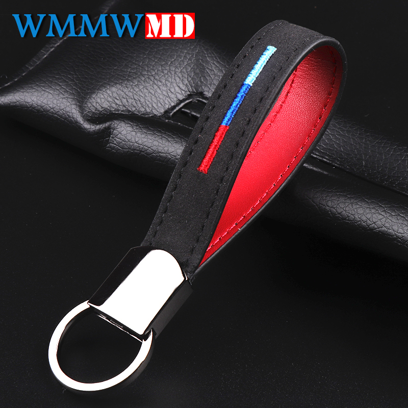 Leather Belt Chrome Keyring <font><b>Keychain</b></font> Key Chain <font><b>For</b></font> <font><b>BMW</b></font> M Sport E46 E39 E60 F30 E90 F10 F30 E36 X5 E53 E30 E34 X1 X3 <font><b>Car</b></font> <font><b>styling</b></font> image