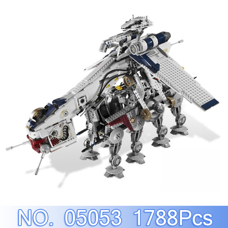Lepin 05053 1788Pcs Star Wars Figures Republic Dropship With AT-OT Walker Model Building Kits Blocks Bricks Toy Compatible 10195 lepin sets star wars figures 1788pcs 05053 republic dropship with at ot walker model building kits blocks bricks kids toys 10195