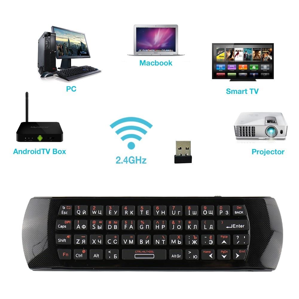 Mini clavier Rii i25A 2.4G souris sans fil Fly Air clavier russe anglais avec prise écouteur pour X96 Max T9 Android TV 8.1