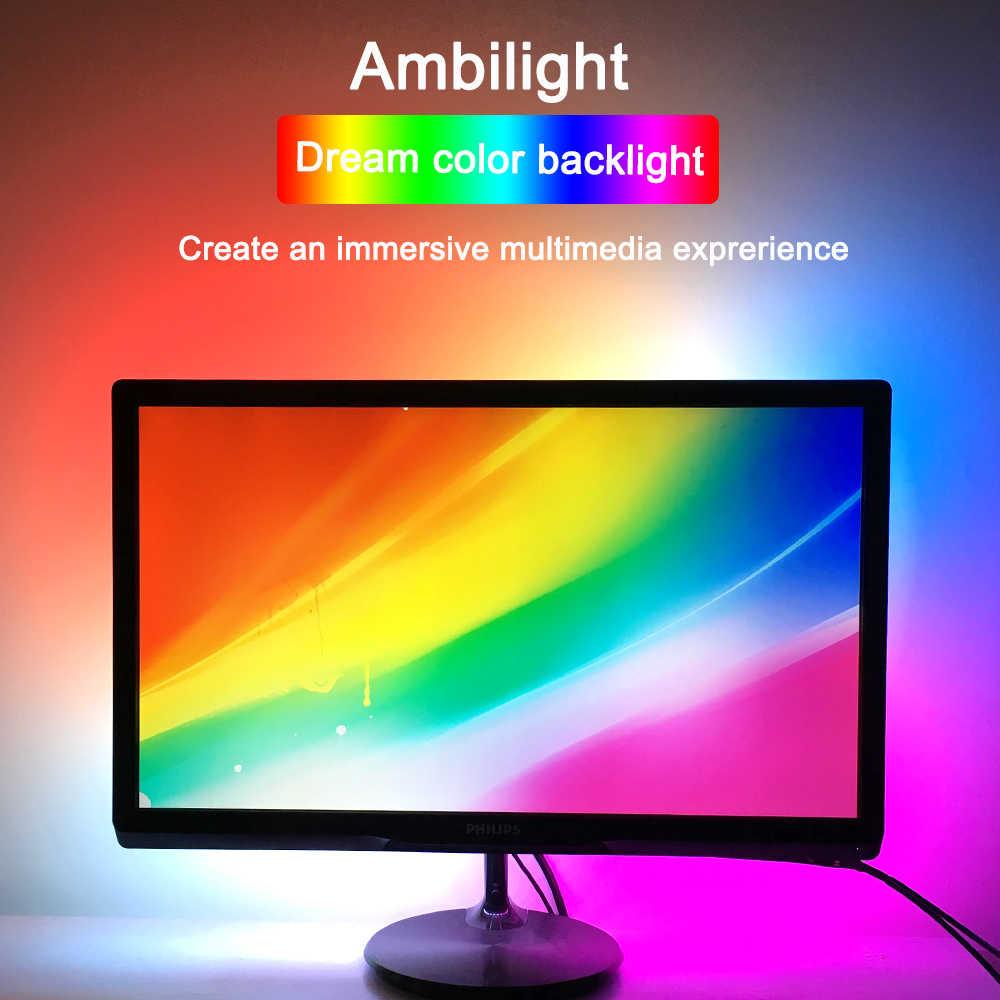 Ambilight المضيئة شريط ليد مزود بيو إس بي WS2812B RGB مصباح ليد مرنة تحكم الطاقة محول للتلفزيون حاسوب شخصي مكتبي مراقبة إضاءة خلفية