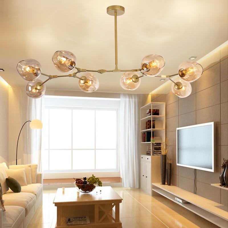 Bar Gold Pendant Lighting Large Pendant Lights Kitchen Modern Pendant Light Room Amber Glass Lamp Modern Ceiling Lamp Free Bulbs