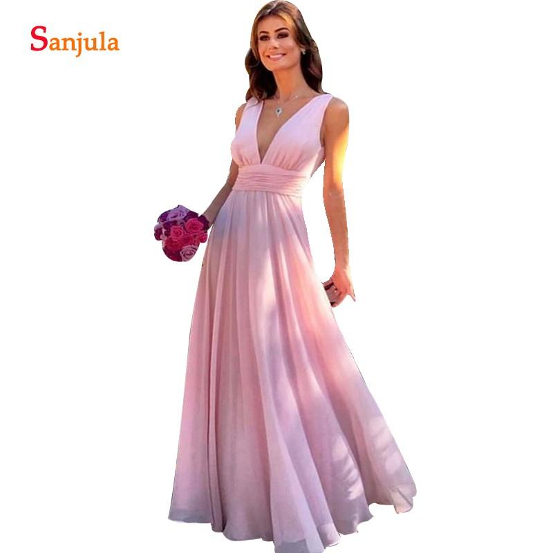 Simple Pink Chiffon   Bridesmaid     Dresses   For Wedding Party A-line Deep V-neck Floor Length Long Formal   Dress   Women BY16