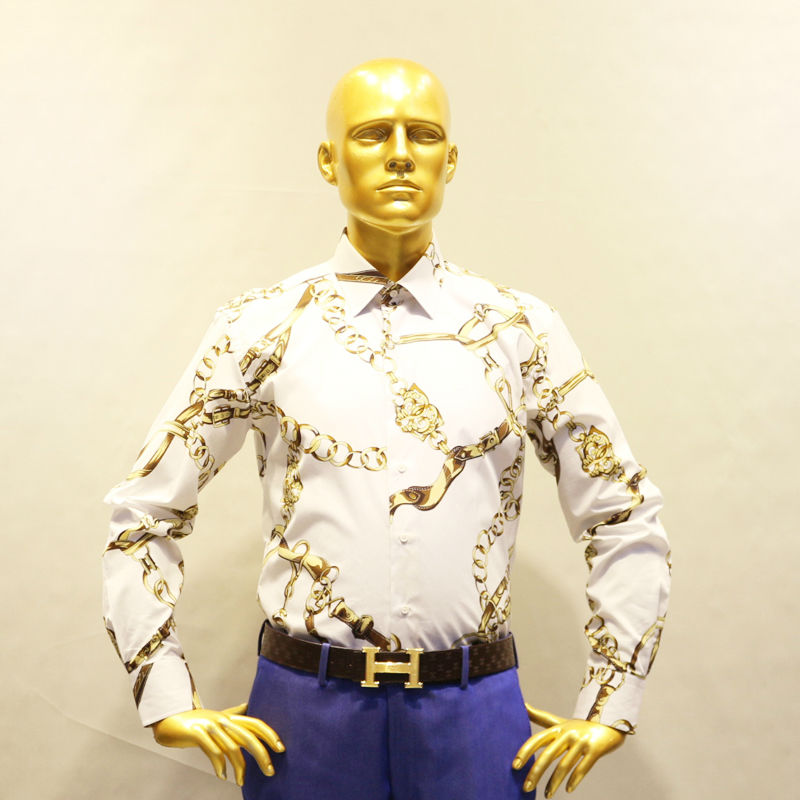 White with printed golden chain flower cotton dress shirt for Tailor made dress shirts