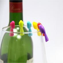 6 шт. бокал для вина, набор для питья и тегов, зеленый пищевой прекрасный птичий стеклянный маркер, набор стеклянных тегов, без розничной коробки