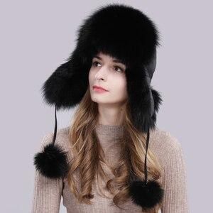 Image 2 - Женская шапка ушанки из натурального Лисьего меха, теплая шапка ушанки из натурального меха лисы, зима 2020