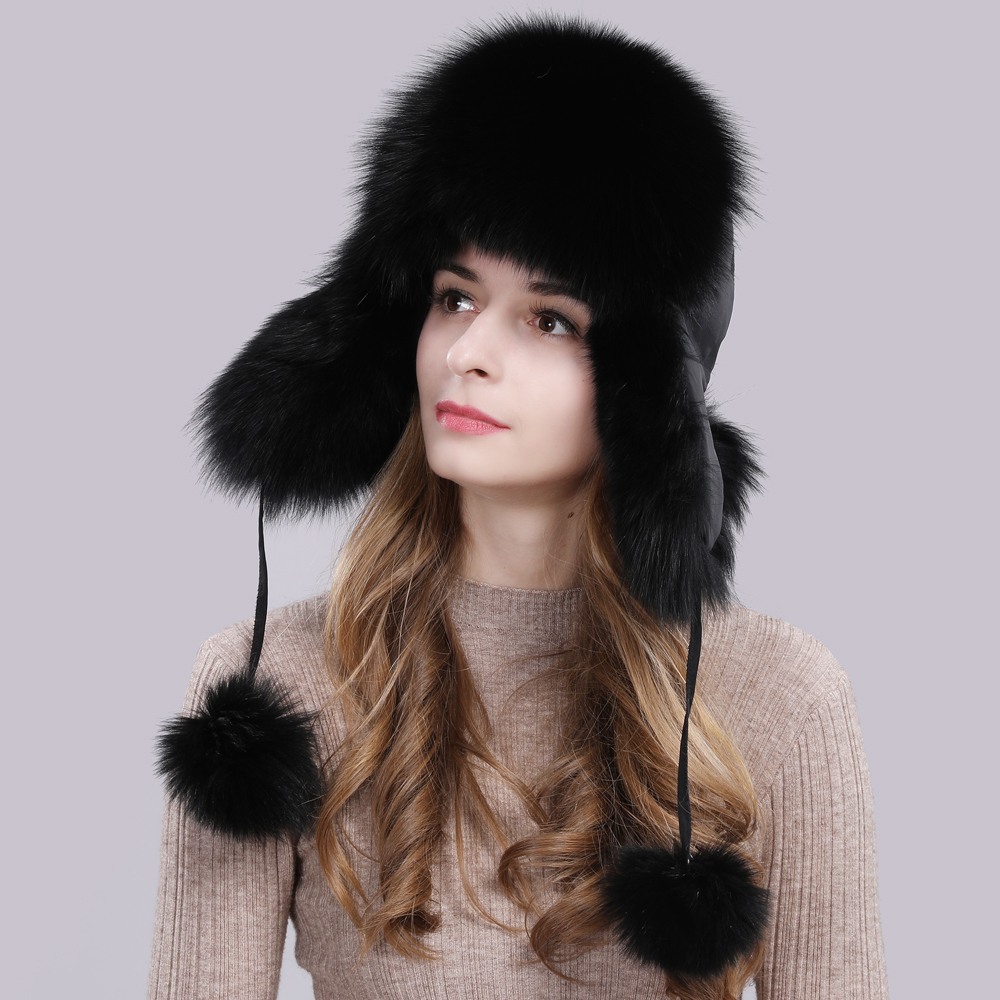 Image 2 - 2019 Hot Sale Women Natural Fox Fur Russian Ushanka Hats Winter Thick Warm Ears Fashion Bomber Hat Lady Genuine Real Fox Fur Cap-in Women's Bomber Hats from Apparel Accessories on AliExpress