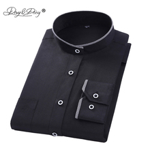DAVYDAISY Men Shirt Mandarin Collar Long Sleeved Classical Solid Shirt