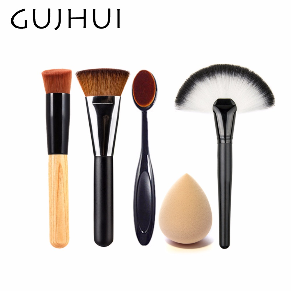 4pcs Best Makeup Brush Set Powder Foundation Travel Cosmetic Brushes Contouring Fan Makeup Brush Tools With Sponge Puff #86764 candy color calabash shaped cosmetic makeup cotton pads sponge puff pink