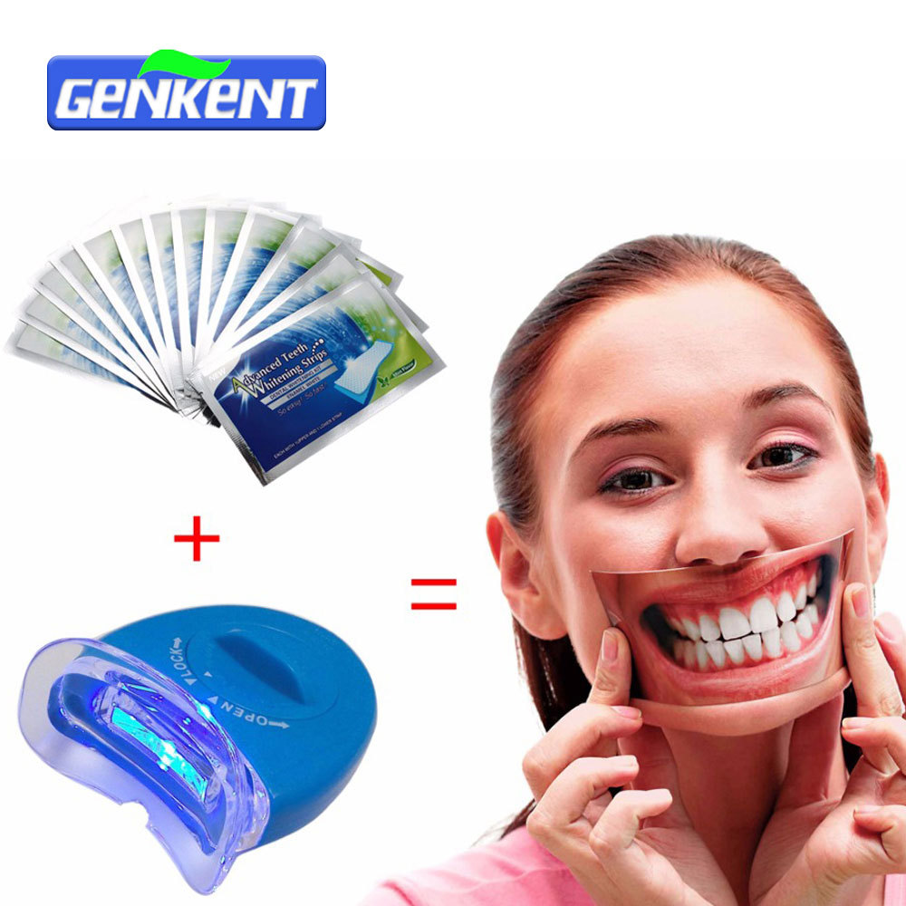 Home Teeth Whitening Light: 14Pouches Advanced Teeth Whitening Strips+LED Teeth