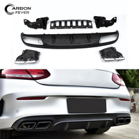 For Mercedes W205 2 door Coupe 2015 + Black Plastic Rear Bumper Diffuser with 4 outlet Exhaust Endpipe