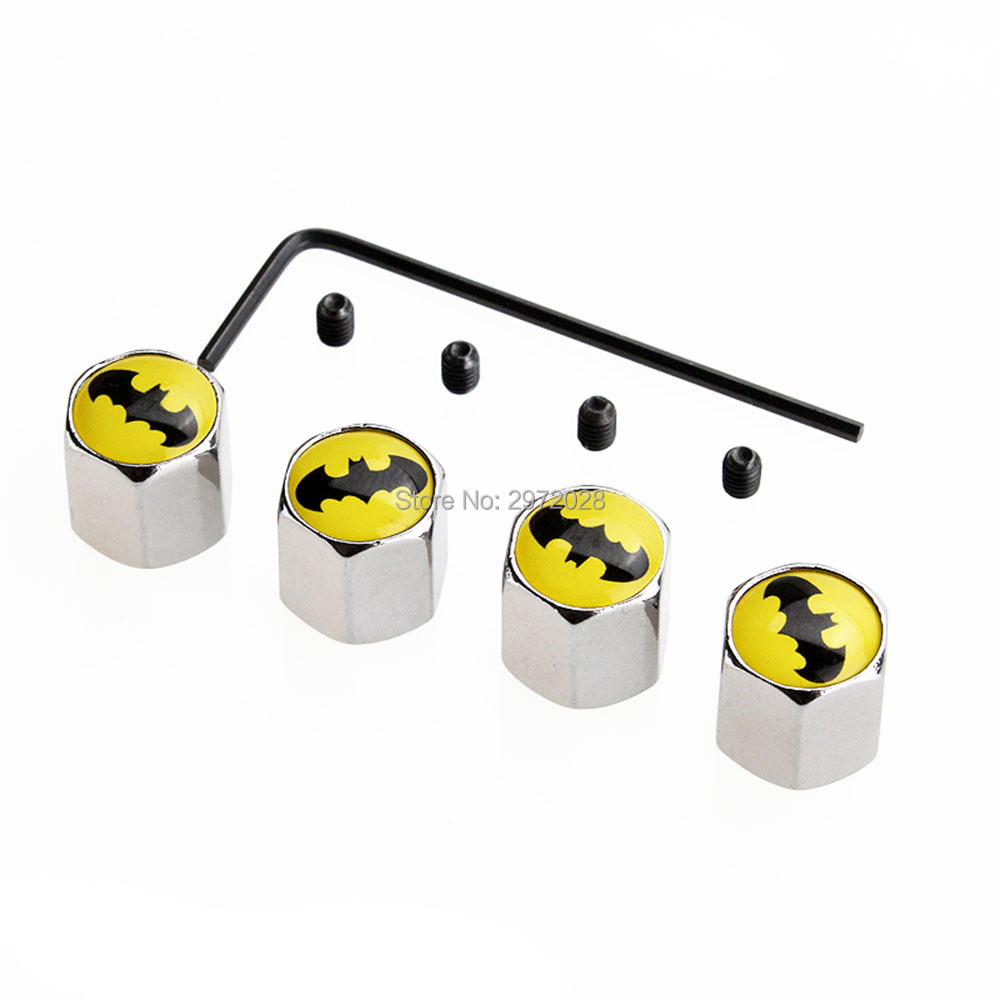 4 X Car Styling Funny Batman Cartoon Anti-theft Stainless Wheel Tire Valve Stems Caps Car Wheel Tyre Tire Stem Air Valve Caps