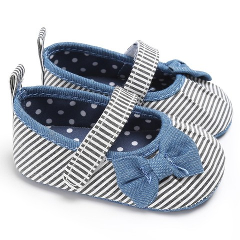 Newborn Baby Girls Shoes Butterfly-knot Kids First Walkers Shoes Infant Babe  Soft Bottom Striped Shoes Pakistan