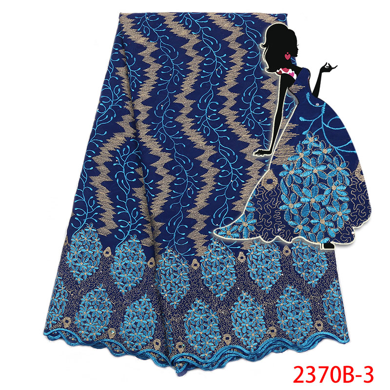 African Dry Lace Fabric High Quality 2018 Swiss Cotton Lace New Swiss Voile With Stones For Women Dresses KS2370B-3