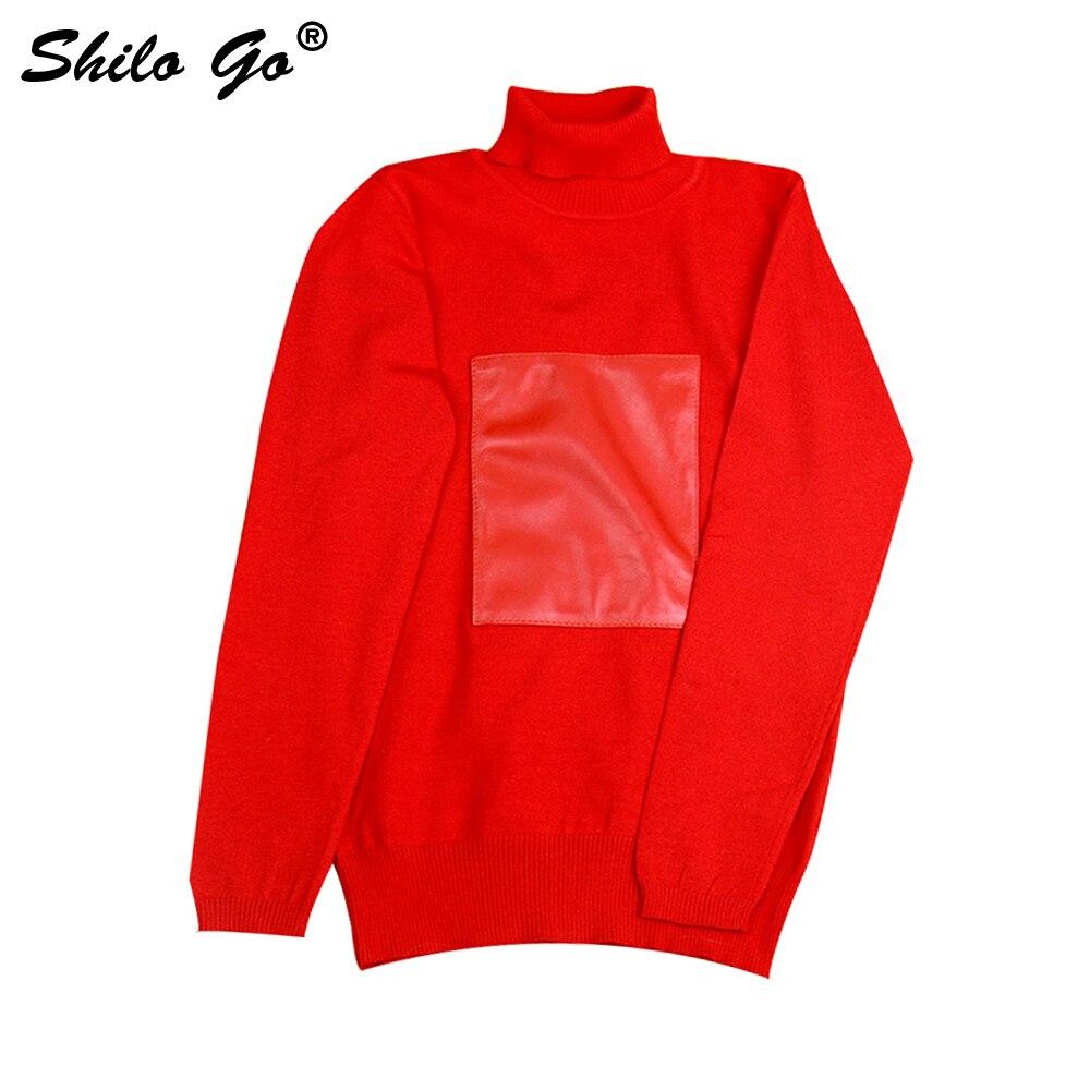 Leather Blouse Womens Autumn Fashion sheepskin genuine leather Blouse turtleneck collar long sleeve red slim blouse