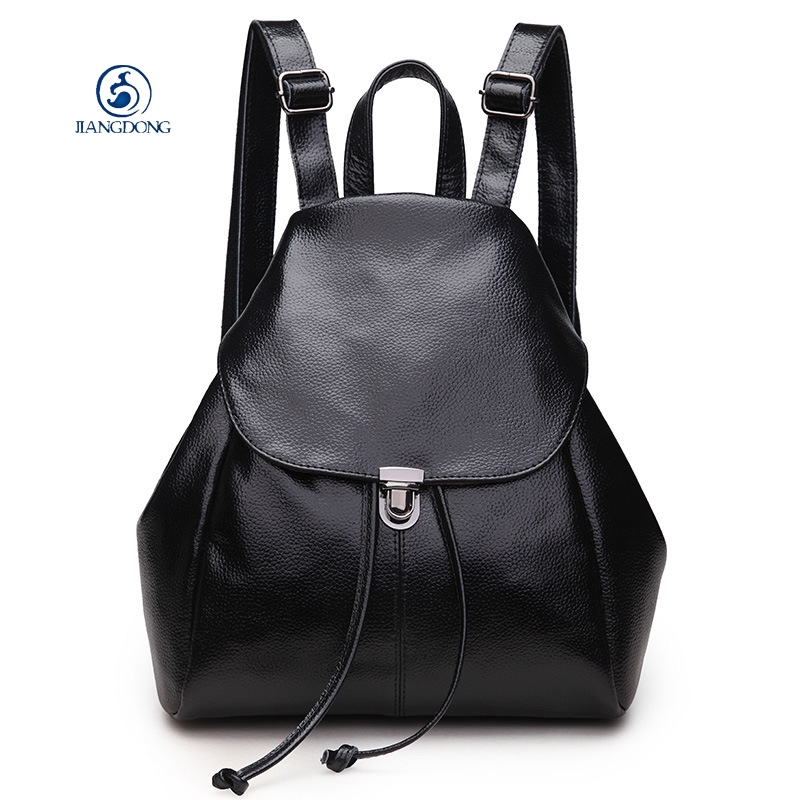купить JIANGDONG Simple Style Genuine Leather Famous Brand Black Backpack Women Backpacks Solid Vintage Girls School Bags Girls по цене 7398.13 рублей
