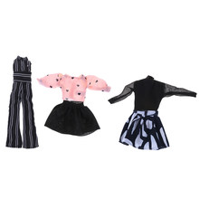 1PCS Fashion Handmade Party Dress Doll Clothes Girls Suit Chiffon Shirt Mini Skirt Jumpsuits For Barbie Accessories Girl Gifts(China)