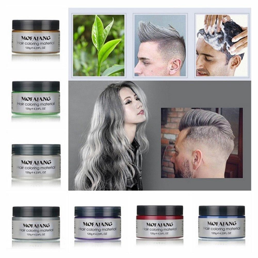 Soforthaar Farbe Pomaden Wachse Weiß Lila Grau Silber Asche Wachs Haarfarbe Wachs Schlamm Einweg Modellierung Färben Creme Waschbar