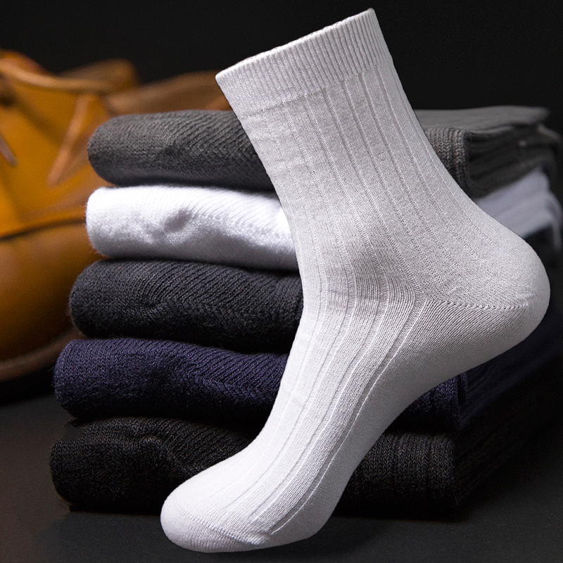 mens socks 100% cotton knee-high anti-odor sweat absorbing sock autumn and winter thick thermal socks commercial