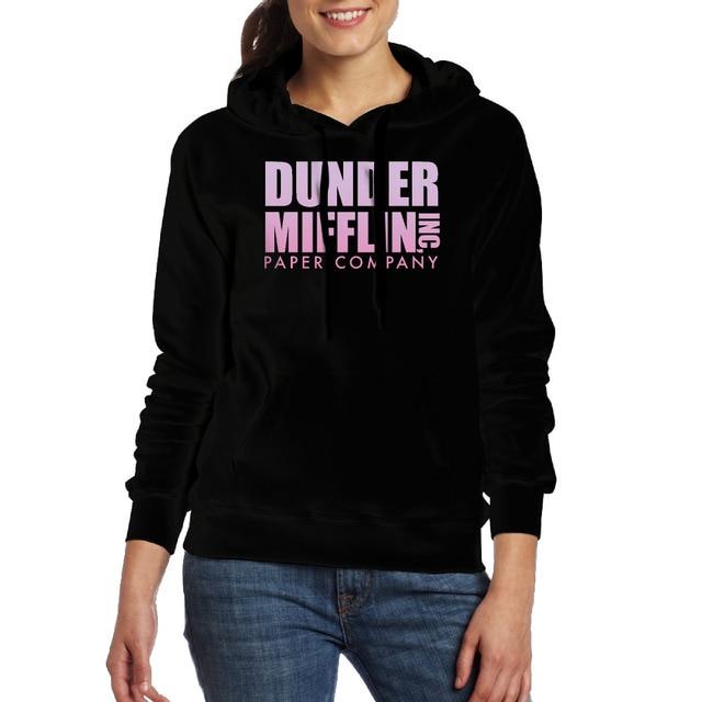 Women s The Office TV Dunder Mifflin Paper Company Logo Hooded Sweatshirt  With Pocket fashion Hooded Sweatshirt for lady 5fab558048fa