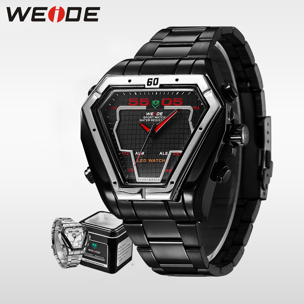 WEIDE luxury Sport Digital Watch Men Luxury Brand Quality Quartz Watches Stainless Steel Army Military Relogios Masculino WH1102 weide men watch quartz contracted watch stainless steel date sport in digital watches led round big dial luxury fashion casual