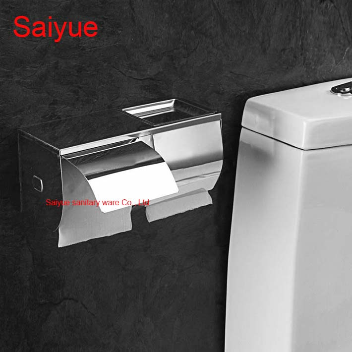 Wide Stainless Steel 304 wall Mounted Bathroom Accessories Toilet Paper Phone Holder With Ashtray Tissue Roll porte-papier Box