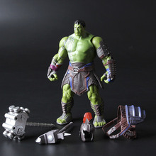 [Funny] 20cm Collection Warrior Thor 3 Ragnarok Action Figure War Hammer Battle Axe Gladiator Hulk Movable Model Toy Boy Gift