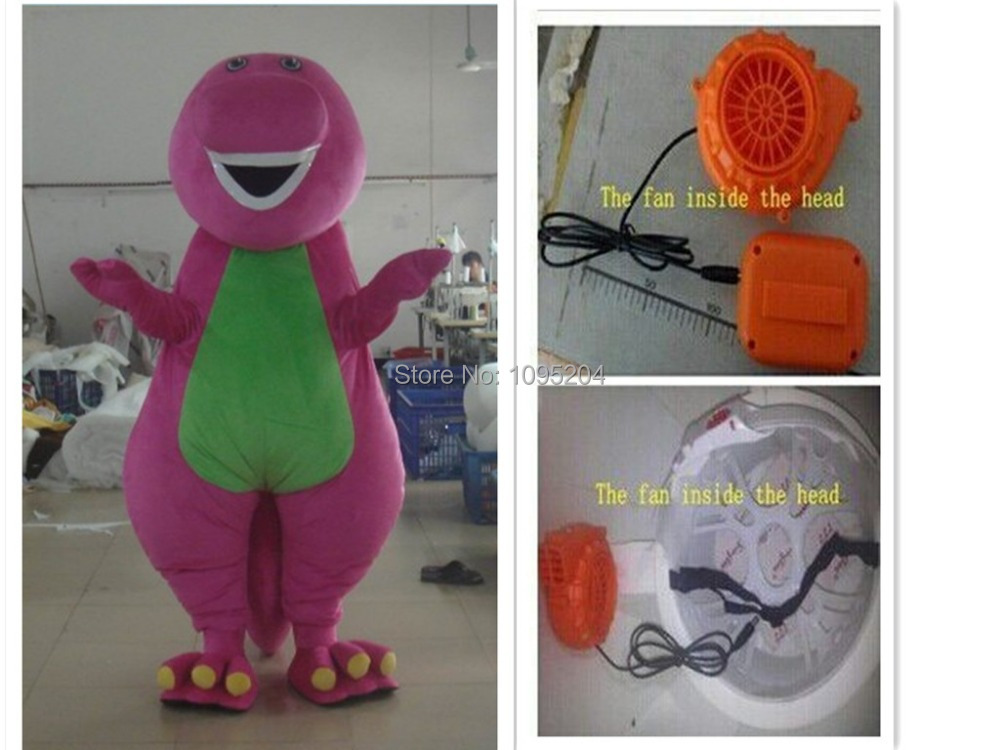 Kiváló minőségű felnőtt Barney Mascot jelmez Barney rajzfilm kabalája jelmezek felnőtt méret gyors szállítás