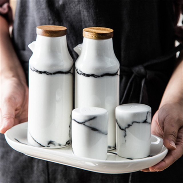 Oil-Bottle-Set Porcelain Salt Pepper Cooking-Tools Marble Ceramic Olive Kitchen Soy-Seasoning-Party-Favors