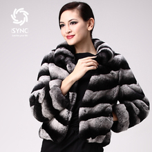 HOT New Rabbit fur Coats Elegant Chinchilla style Ladies rabbit coats Rex rabbit fur jacket slanting
