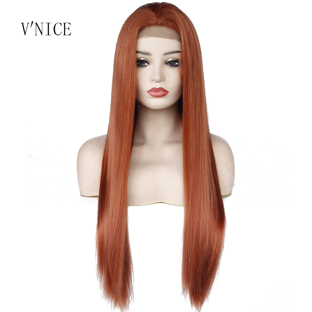 Middle Part Natrual Long Straight Orange Red Wig Heat Resistant Fiber Synthetic Lace Front Copper Red