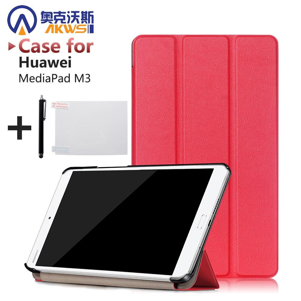 Caso Ultra delgado para Huawei MediaPad M3 8,4 pulgadas protectora de la tableta PU cubierta de cuero + protector + stylus
