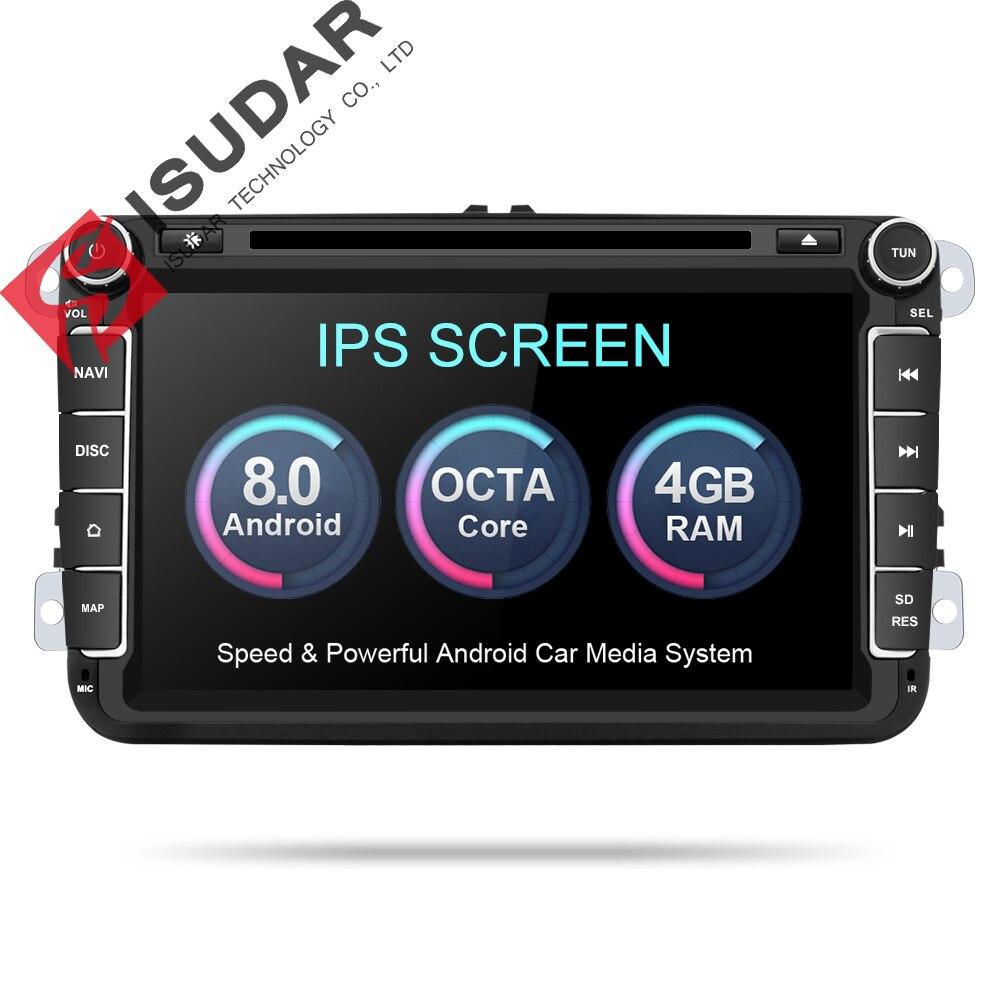 Isudar Voiture lecteur Multimédia Android 8.0 GPS 2 Din Voiture Radio Audio Auto Pour VW/Volkswagen/POLO/ PASSAT/Golf 8 Noyaux FM Radio IPS