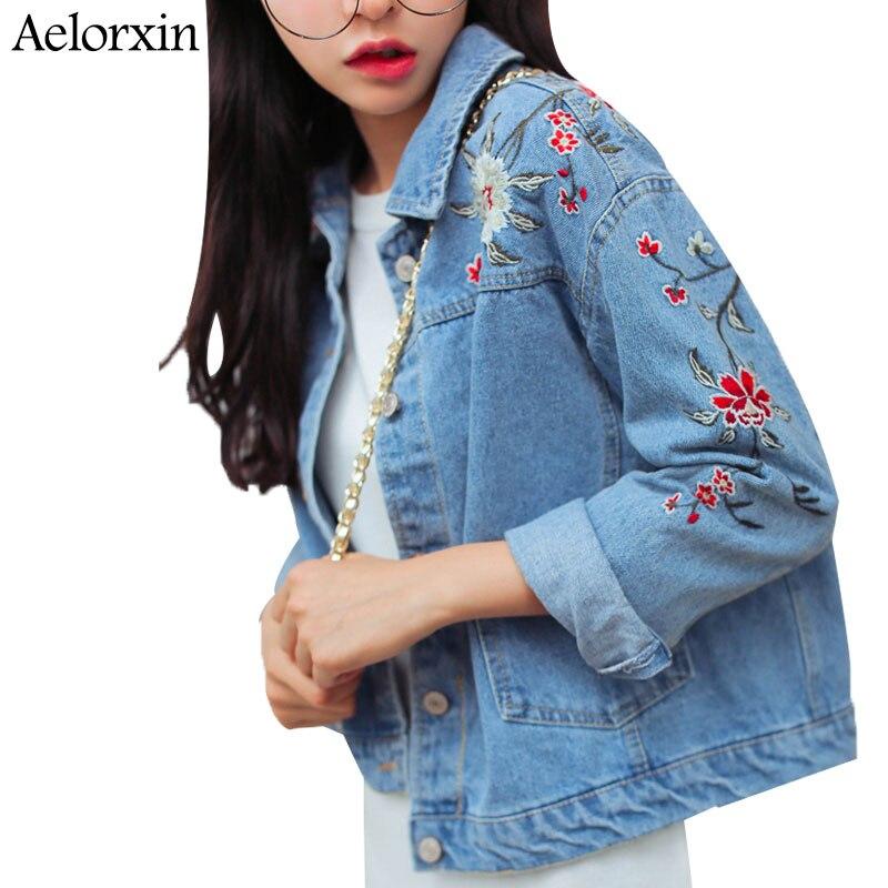 Aelorxin 2017 Spring Female Jean Jacket Vintage Floral Embroidery Boyfriend Denim Jacket Casual Clothing Women Jacket Coat