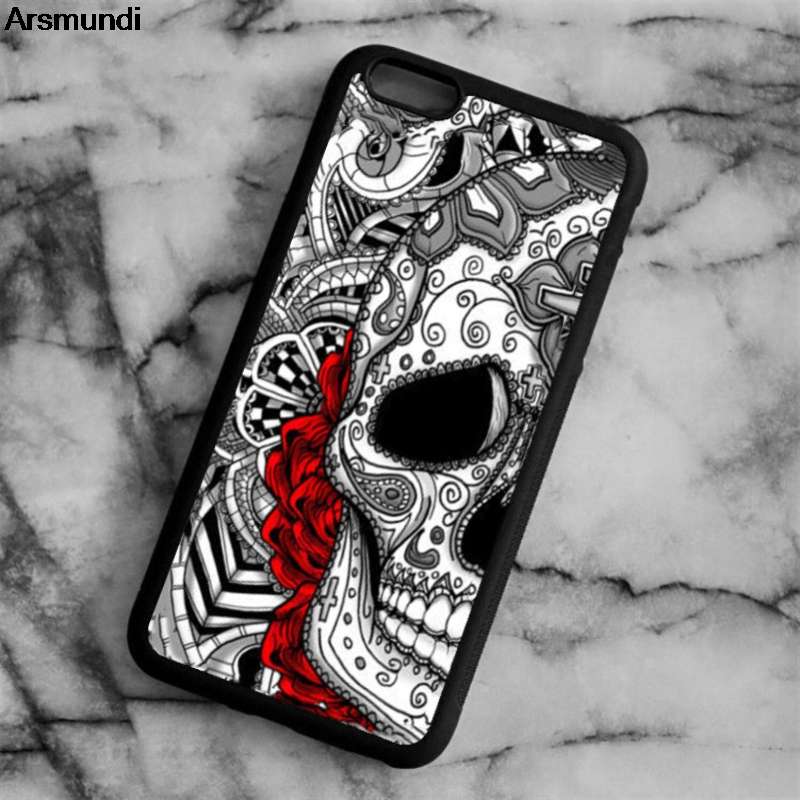 Arsmundi Fashion Flower Skull Phone Cases for iPhone 4S 5C 5S 6 6S 7 8 Plus X for Samsung S8 Note Case Soft TPU Rubber Silicone