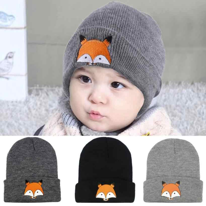 BMF TELOTUNY  Fashion Baby Children Cap Cartoon Fox Warm Winter Hats Knitted Wool Hemming Apr6 Drop Ship