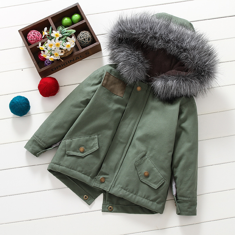 d9d94edc51c0 2017 New Baby Boys Girls Winter Jacket in Army Green Thick Fur ...