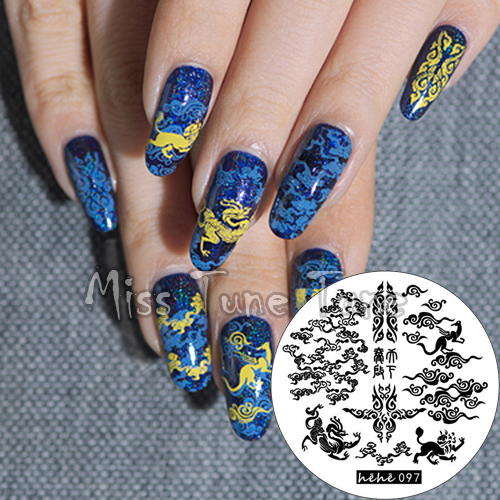 New Premium Stamping Plate hehe97 Chinese Clouds Dragon Patterns Nail Art  Stamp Template Image Transfer Stamp - New Premium Stamping Plate Hehe97 Chinese Clouds Dragon Patterns