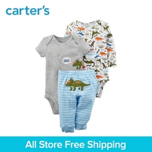 3pcs Dinosaur print bodysuits pants clothing sets Carter's baby boy soft cotton Spring Summer 126H218